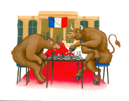 Bull and bear playing chess in front of French flag