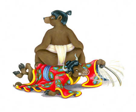 Sumo wrestler bear sitting on bull in kimono
