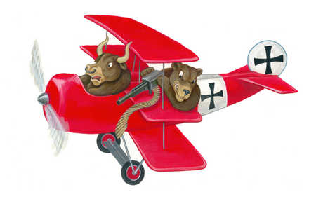 Bear and bull in old fashioned fighter airplane
