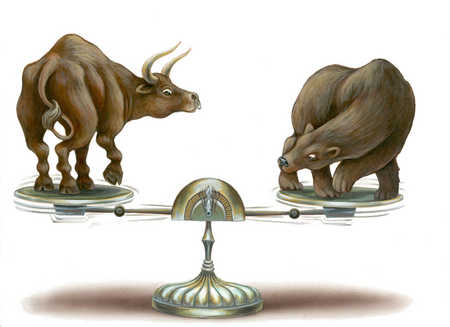 Bull and bear on scale