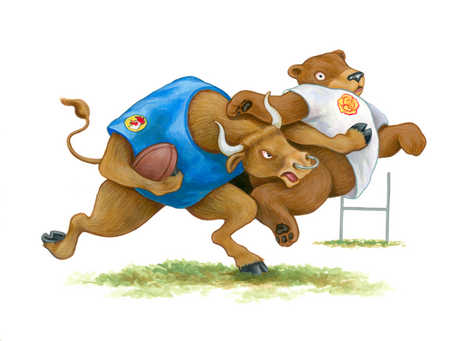 Bull and bear playing football