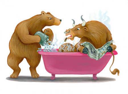 Bear pouring ice into bull's bath