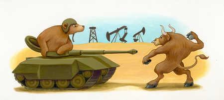 Bull throwing grenade at bear in tank