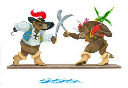 Bear and bull pirates sword fighting