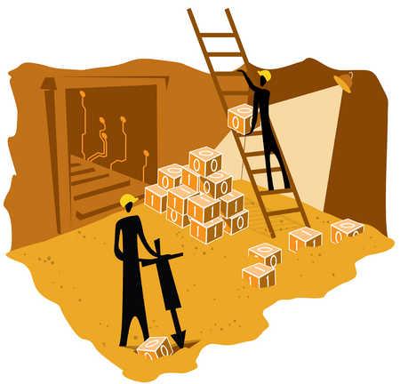 Construction workers fixing binary blocks