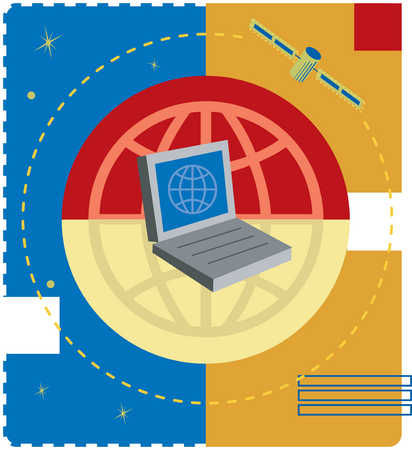 Illustration of globe with laptop in center and orbiting satellite