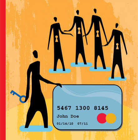 Person holding key and credit card next to group with keyholes
