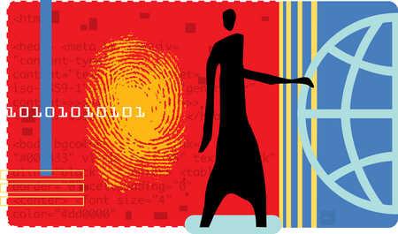 Person next to fingerprint, binary code and globe