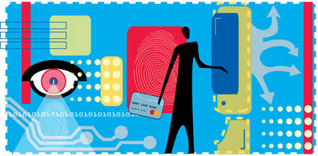 Person holding credit cart next to fingerprint, computer and binary code