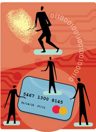 People with credit card, fingerprint and binary code