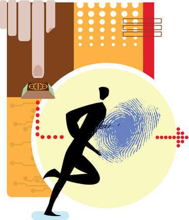 Person running from globe button towards fingerprint