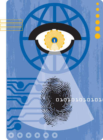 Eyeball shining on fingerprint and binary code