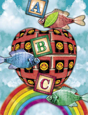 Fish, alphabet blocks and smiley faces over rainbow