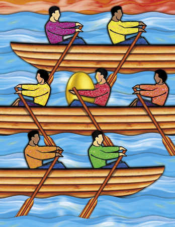 People rowing in boats with golden egg