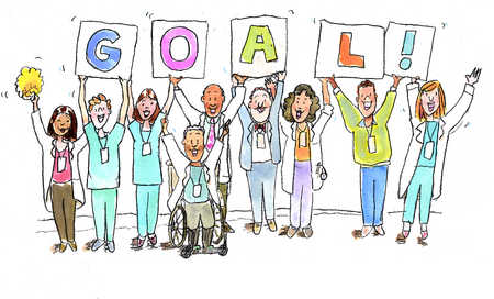Healthcare professionals holding up Goal sign