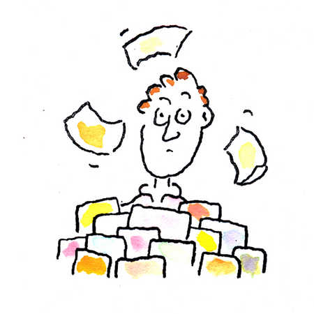 Man surrounded by papers