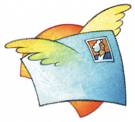 Mail with wings flying in front of sun