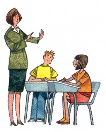 stock illustration female teacher talking to students