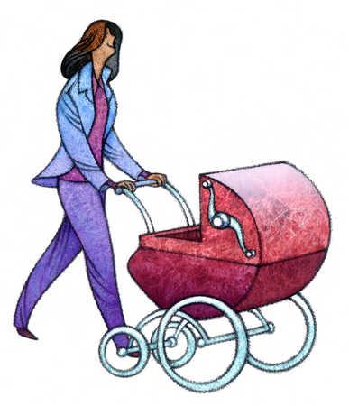 Woman pushing baby carriage