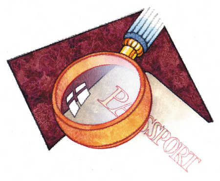 Magnifying glass over passport