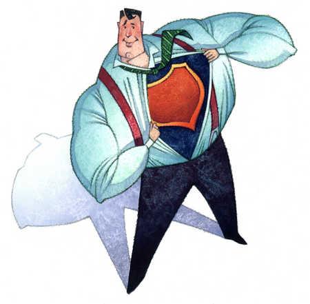 Businessman superhero pulling open shirt