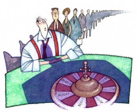 Businessman in line for audit wheel