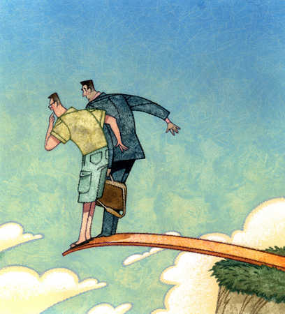 Businessman and man on plank over cliff