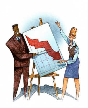 Multi-ethnic businesspeople pointing to graph
