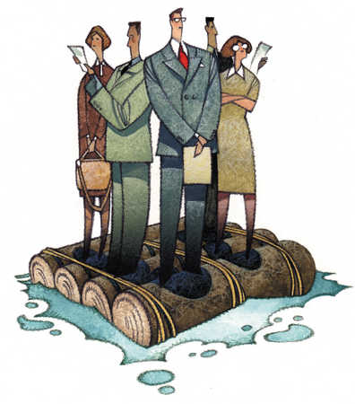 Multi-ethnic businesspeople on log raft