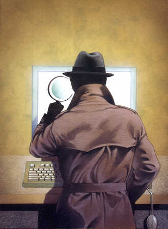 Stock Illustration - Detective looking through magnifying glass at computer