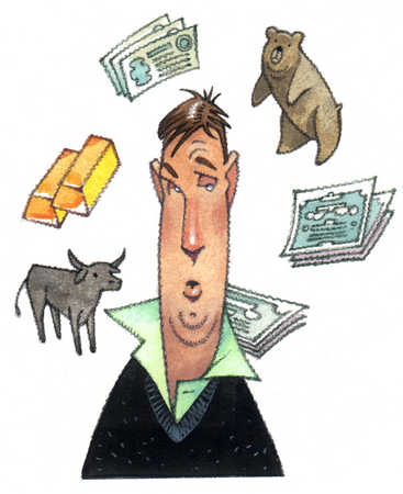 Bull market, bear market, gold, stocks and bonds flying around man's head