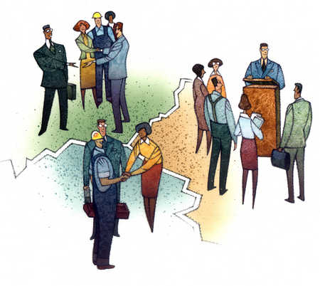 Multi-ethnic businesspeople in groups