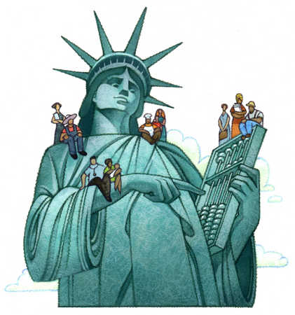 Multi-ethnic people sitting on Statue of Liberty
