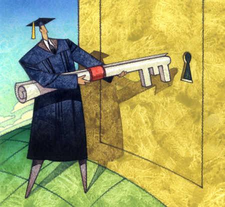 Graduate pointing diploma key at keyhole