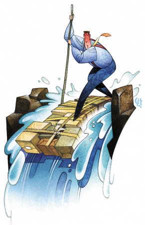 Businessman on raft over waterfall