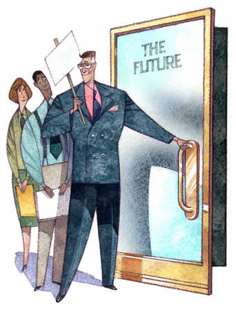 Businessman opening door to the future