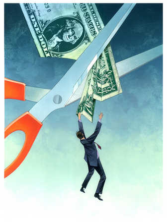 Businessman hanging on dollar being cut