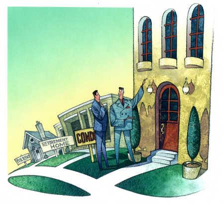 Real estate agent showing condominium to businessman