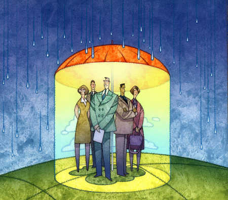 Multi-ethnic business people standing under umbrella