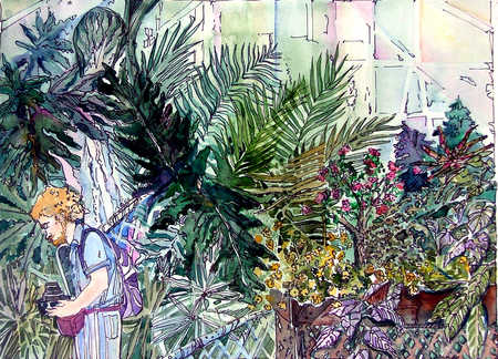 Illustration of man looking at plants