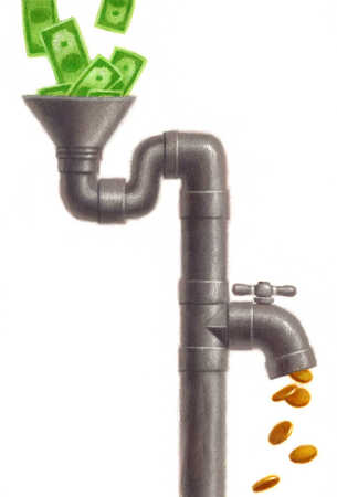 Dollars in funnel and faucet pouring out coins