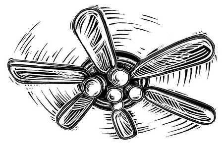 Illustration of ceiling fan