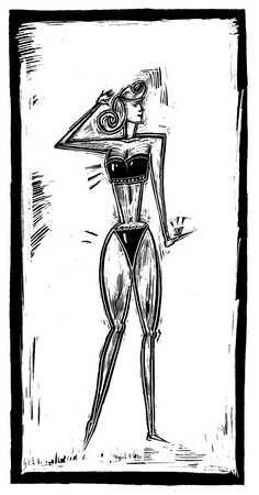 Illustration of woman wearing bikini