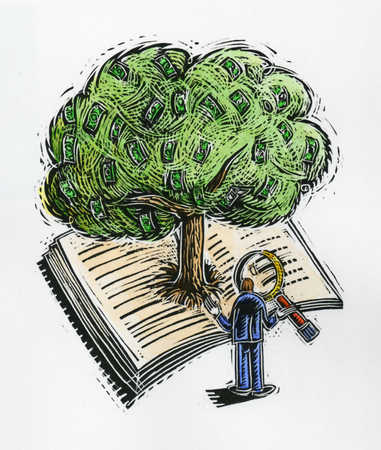 Man with magnifying glass looking at money tree in book