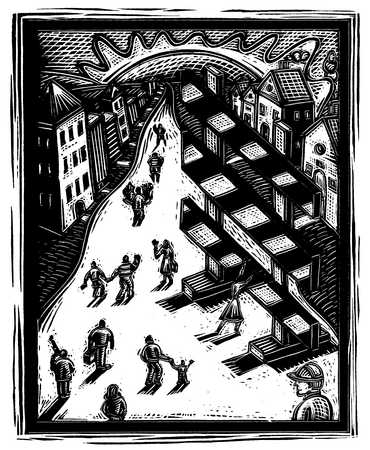Illustration of town with people in street