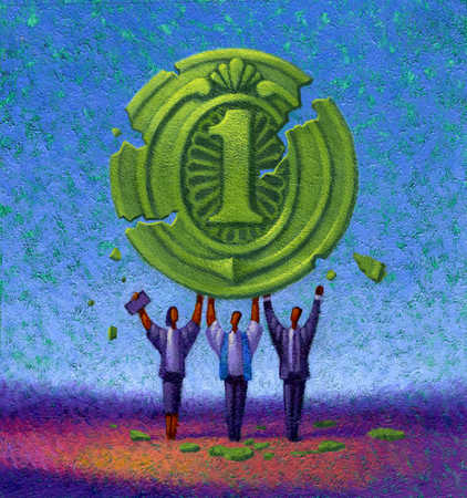 business people holding up broken coin