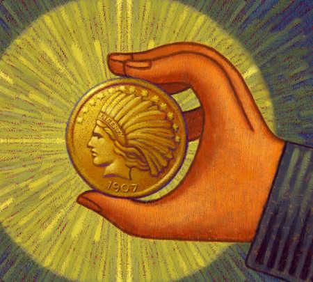 Hand holding illuminated coin