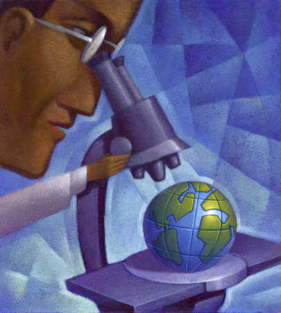 Scientist looking at globe through microscope