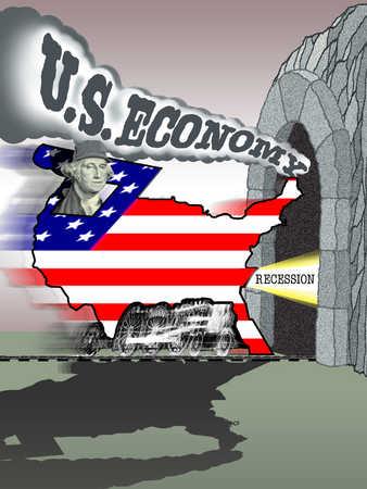 United States train heading into recession tunnel