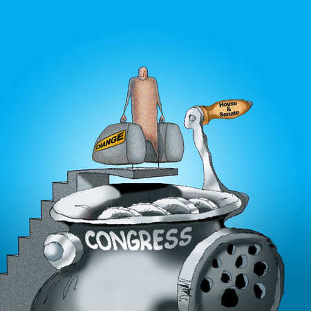 Person holding change bags next to congress meat grinder
